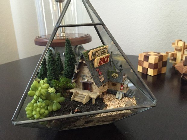 Finally, we add the gravel, moss, some artificial plants, and the shack.