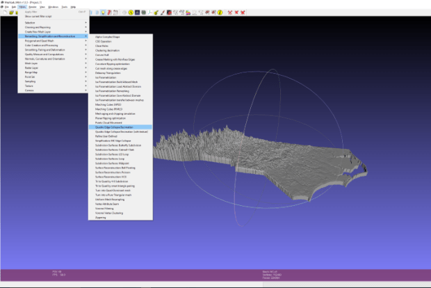 The STL you just generated probably has 300k or more triangles in it. This is great for resolution, but most CAM packages won't handle that; I'll be using Autodesk Fusion 360 for this, which caps you at 10,000 faces to convert an imported STL. I used MeshLab (http://meshlab.sourceforge.net/) to reduce the complexity of the STLs. After importing the mesh, I used quadratic edge collapse decimation (whatever that means) to simplify the model.