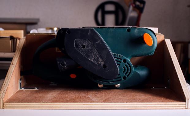 Humus Workshop Belt Sander Stand. Images courtesy of Humus Workshop.