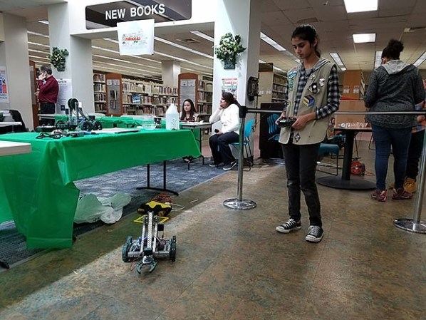 Many attendees had the opportunity to control robots provided by various makers. Photo credit: Sandra Roberts