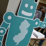 The official NJ Maker Day Robot greeted visitors at the Piscataway Public Library. Photo credit: Doug Baldwin