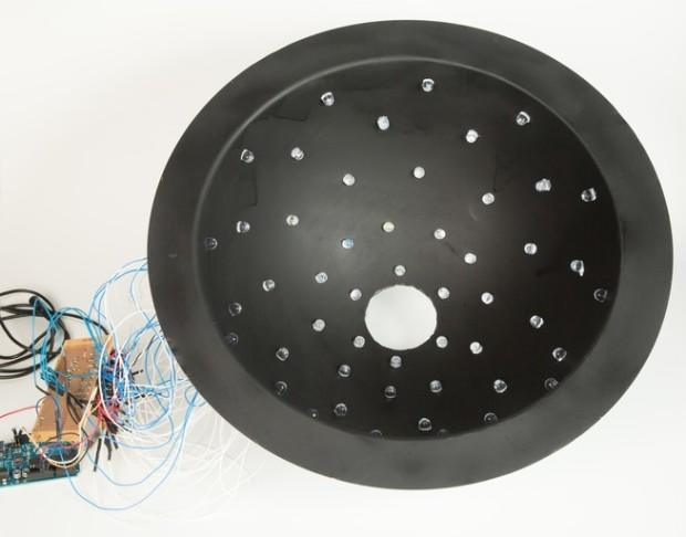 Inside of the large sphere showing the 50 LED lights. Each light is a 10 mm supper bright LED and can be independently controlled by the Adruino Uno microprocessor.