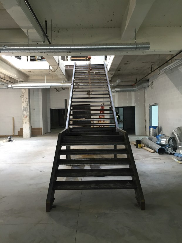 Staircase rough install -- still awaiting treads by our friends Surface Project. Photograph by Will Holman