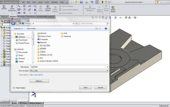 Converting the pewter casting hand sketch into a SolidWorks CAD drawing into an STL file