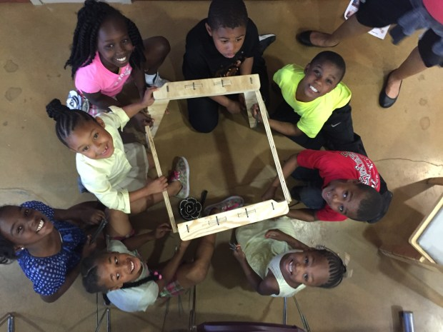 Community outreach meeting at Barclay community center in April, where local kids built a cnc-ed chair held together with zip-ties. Photo by Will Holman