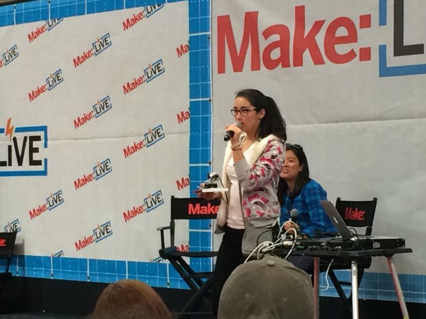 """I recently got into teaching kids what I know because I feel like I didn't get that privilege [in school]"" -- Sasha Jaffarove at the Make: Live stage (Bonus: ""Making is not graded!""). This girl is awesome! (Lisa 2:42)"
