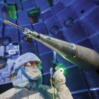 This is the inside of the world's largest and most powerful laser, which is used in experiments to create nuclear fusion. Examples of the laser's optics will be on display at the Make|ENERGY pavilion. Photo by Lawrence Livermore National Laboratory.
