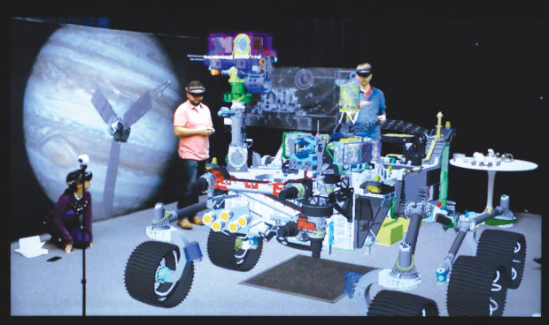 ProtoSpace projects a life-size rendering of whatever craft JPL wants to examine. Here, the upcoming Mars 2020 rover. Photo by Mike Senese