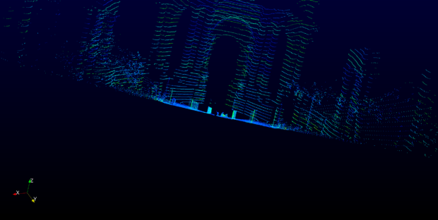 A lidar's-eye-view of the Rotunda at the Palace of Fine Arts in San Francisco shows the shape of the venue and surrounding landscape. Image courtesy of Velodyne