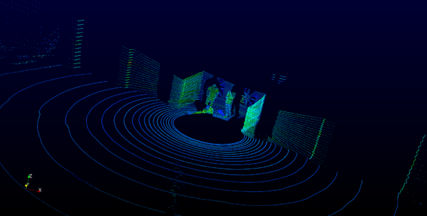 Generating three-dimensional data lets you see a location from various vantages. Here: a birds-eye-view of the lidar unit (placed in center of black circle) and the traces each laser creates. Image courtesy of Velodyne