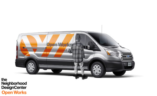 Side view of van with graphics on outside. Rendering by Sadie Dempsey.