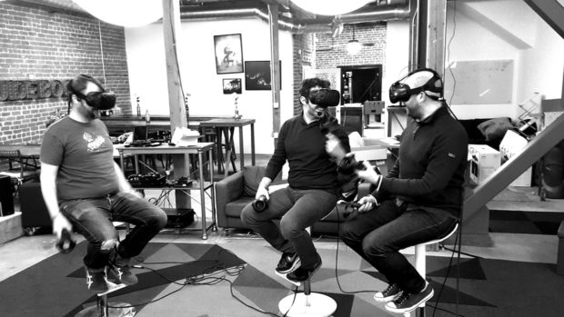 The digital and actual sets for The FOO Show pilot; Will Smith (left) discusses the hit game Firewatch with creators Sean Vanaman (center) and Jake Rodkin (right).