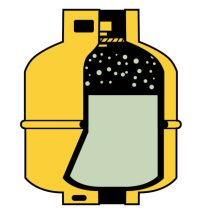 A propane cylinder contains liquid and vapor. Illustrations by James Burke