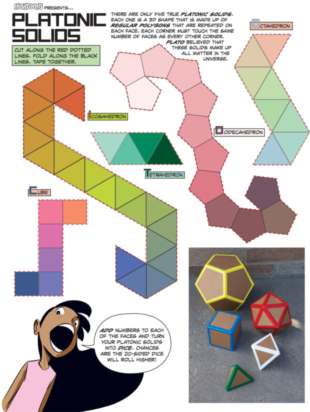 Cut and Fold Platonic Mathematical Shapes