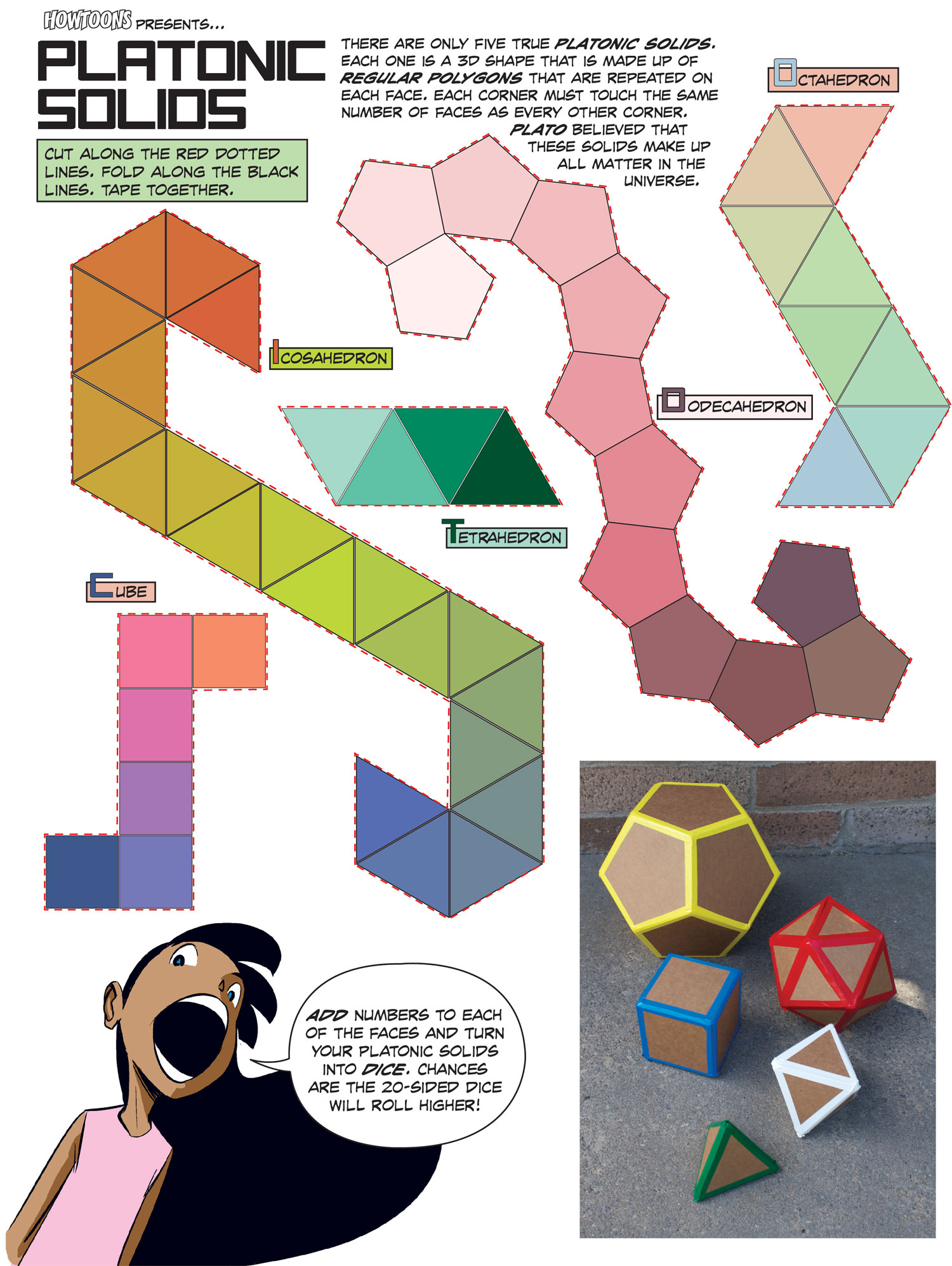 Howtoons Cut And Fold Platonic Mathematical Shapes Make