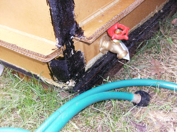 Spout to attach hose to drain pool water