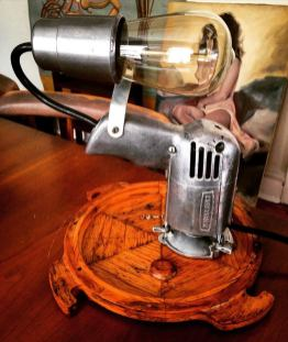Lamp made from drill (with painting bonus in back)