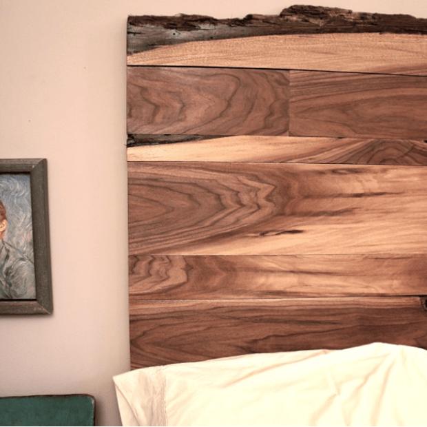Live-edge Walnut headboard