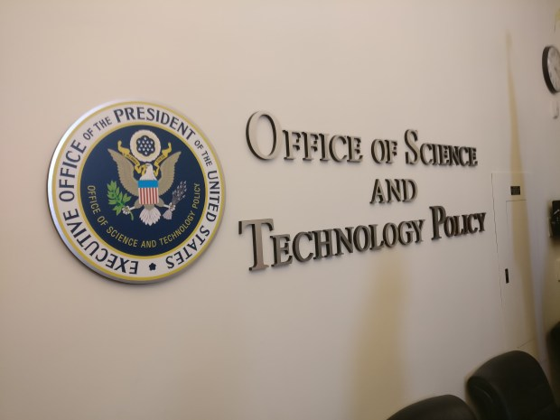 Office of Science and Technology Policy sign