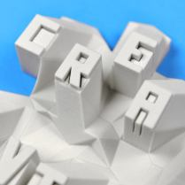 "Close up of the ""Creativity"" 3D print."