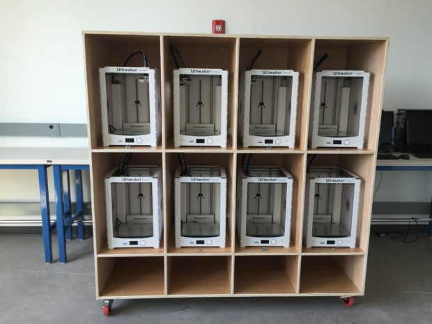 Our tech staff built this beautiful cabinet for our bot farm using a mix of old-school woodshop and advanced CNC techniques. Photo by Will Holman