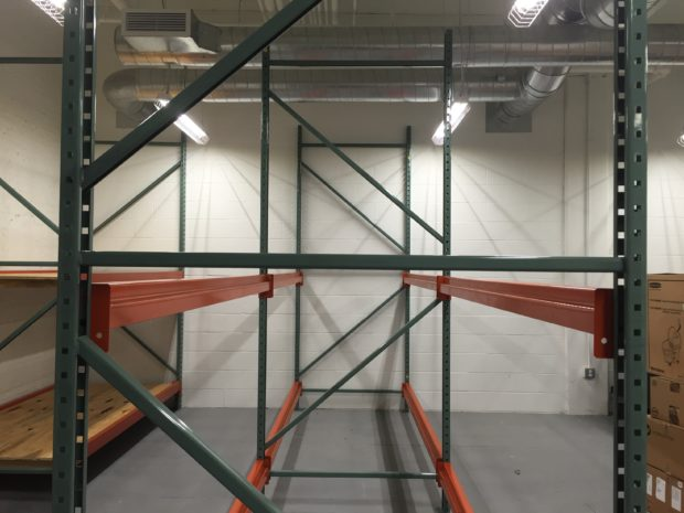 Pallet racking for member and in-house storage. Photo by Will Holman