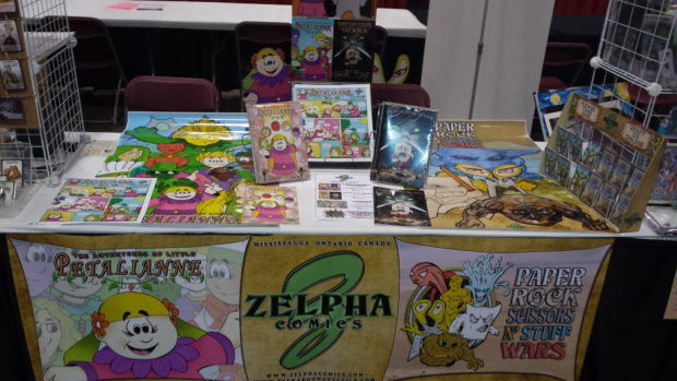 What the Zelpha Comics table looked like on day one.