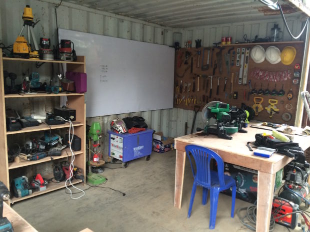The toolshop side of the makerspace we set up
