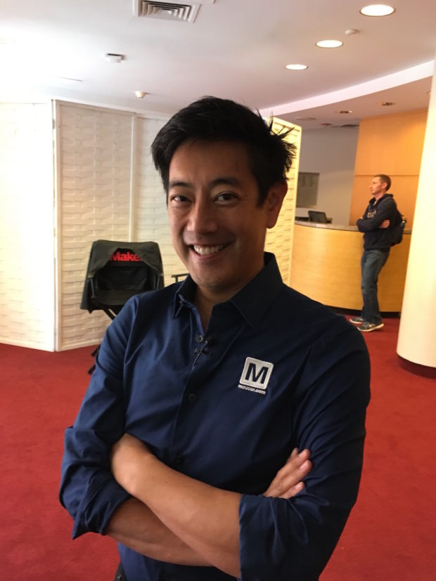 Grant Imahara, he of Mythbuster fame, poses for a shot before his talk on Innovation in the Maker Movement.