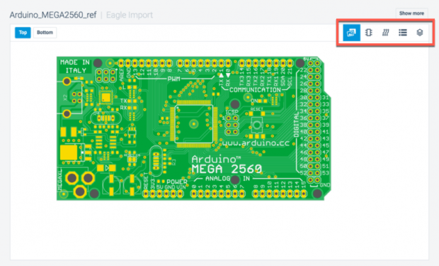 CadSoft EAGLE 7.7 also provides additional features not found on 6.X, including the new Make button, which automatically generates the needed outputs to fabricate, assemble and test designs and then uploads design to the Circuits.io website.