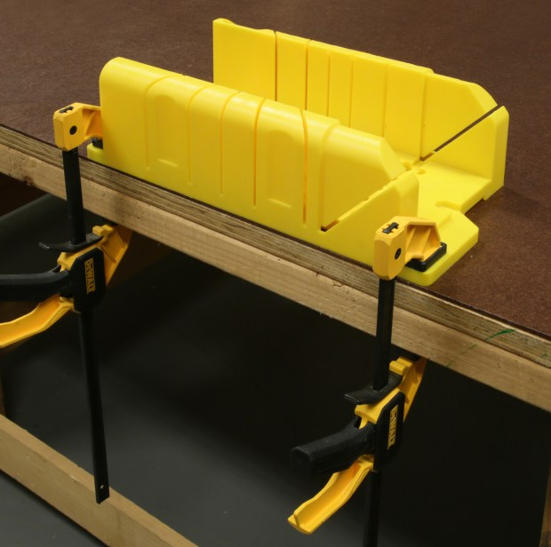Figure 2. Your miter box should have provision for you to clamp it in position.