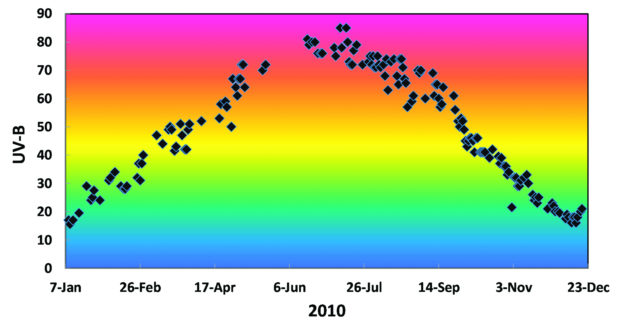 Figure 28-2 Weather data, like these solar UV measurements, are easily converted into representative sequences of musical tones.