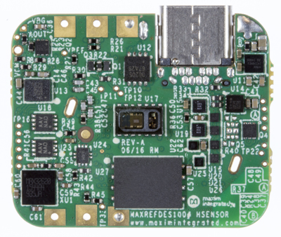 Figure 1: Bottom view of the compact (24.5mmx30.5mm) hSensor Platform. Image courtesy of Maxim Integrated