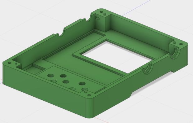 Interior of circuit board case lid in Fusion 360 CAD: