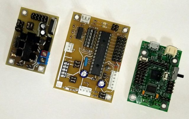 Machine assembly allowed the smaller board on the right to do the job of both boards on the left.