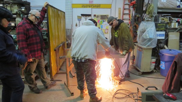 Cutting 16 gauge steel with a plasma cutter.