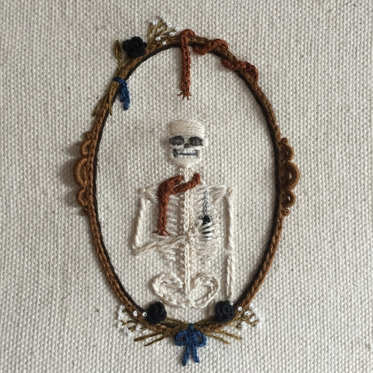 We Love These Tiny Embroidered Skeletons