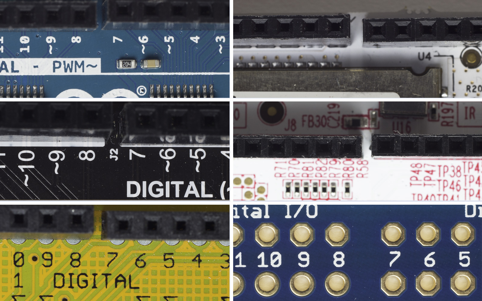 A grid of six different boards with the 7th and 8th pins offset.