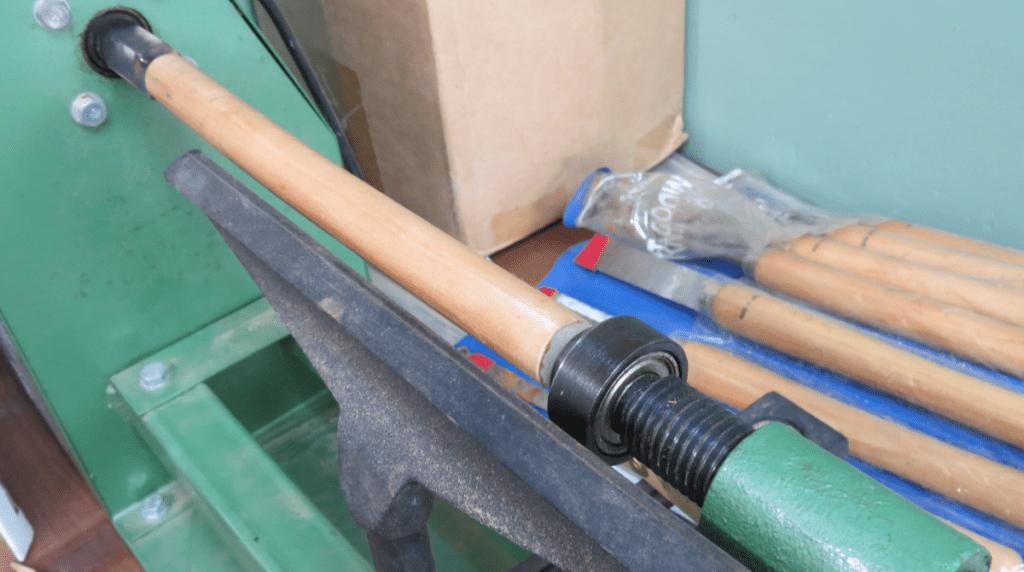 Make a magic wand. Wooden dowel mounted in the wood lathe. Photo: Andrew Terranova