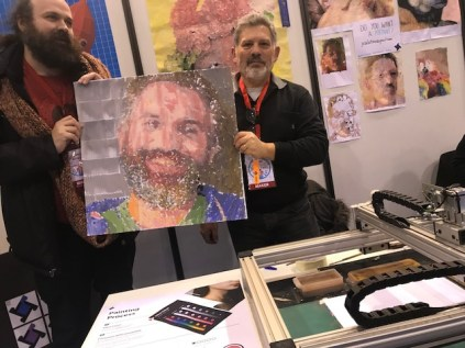 Jose Salatino's CNC paint robot — with portrait of David Cuartielles, one of the founders of Arduino