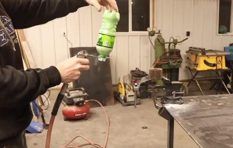 Making a Sandblaster from  in Parts and a Soda Bottle