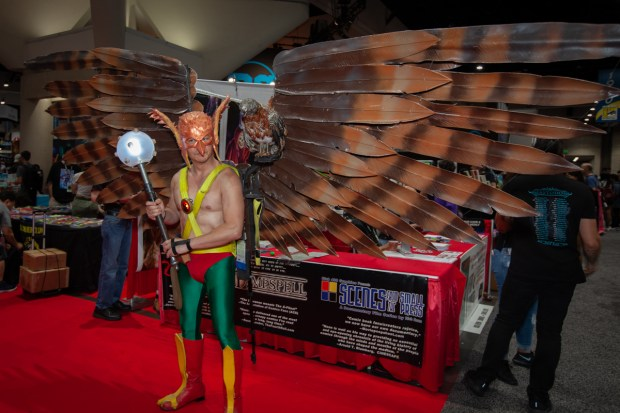 A person dressed as Harvey Birdman