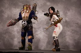 An Alpha and a Little Sister from Bioshock