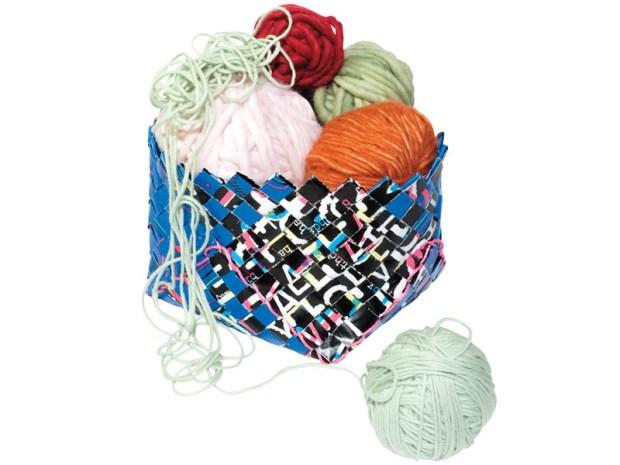 Scrap Paper Woven Basket