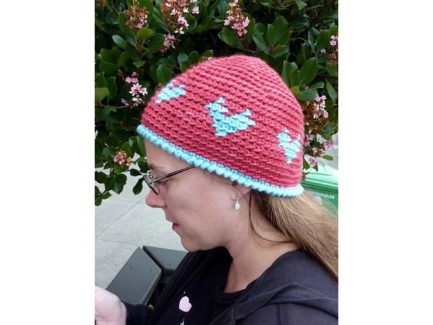 Crochet Colorwork Heart Hat