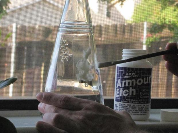 Label-Etch a Glass Bottle