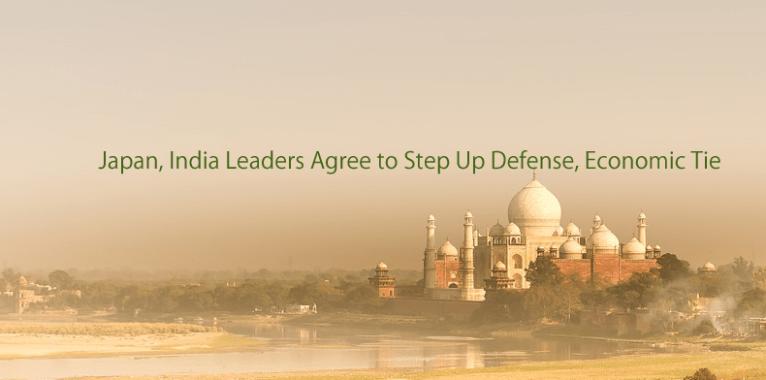 インドのイメージ図の上に日本インドの経済・防衛協力の英語ロゴ