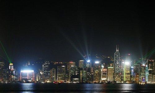 香港の都会のきれいな夜景