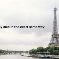 フランスエッフェル塔の写真の上にの'They died in the exact same way'の印字
