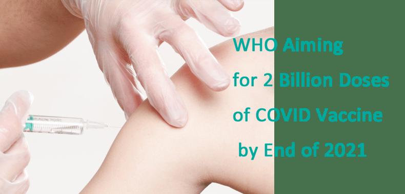 ワクチンを摂取している画像にWHO Aiming for 2 Billion Doses of COVID Vaccine by End of 2021の印字
